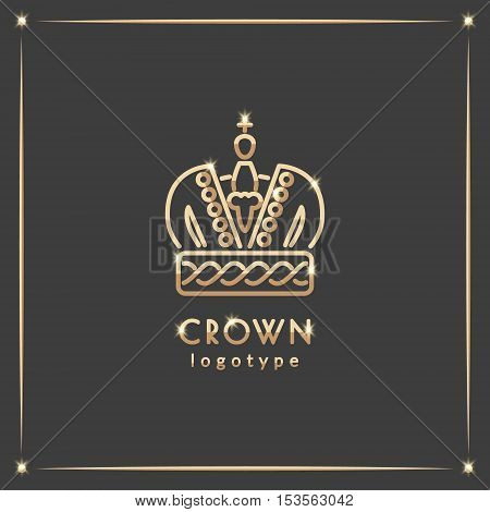 Golden crown logotype. Vector illustration with thin line icon with sparkles