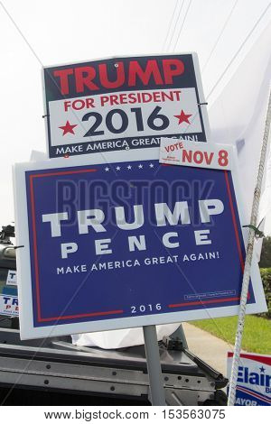 JACKSONVILLE, FL - OCTOBER 25, 2016: Donald Trump presidential supporter signs by the roadside 13 days before the election.
