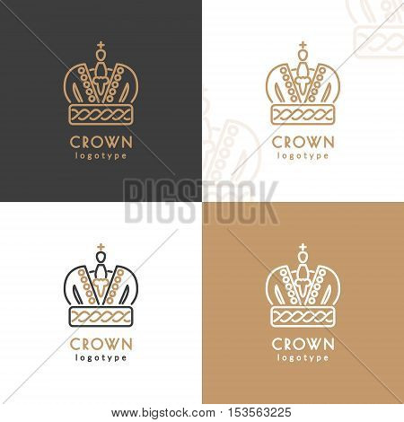 Crown logotype. Vector illustration with thin line icon
