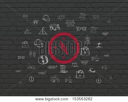 Travel concept: Painted red Compass icon on Black Brick wall background with  Hand Drawn Vacation Icons