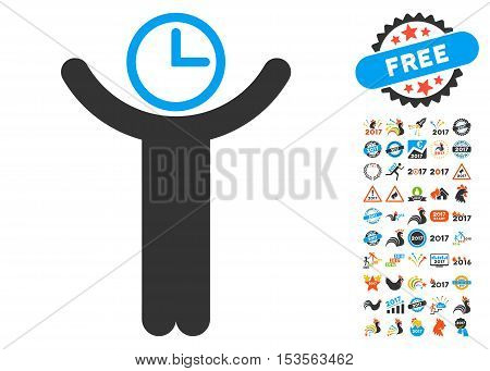 Time Manager icon with bonus 2017 new year clip art. Vector illustration style is flat iconic symbols, modern colors.