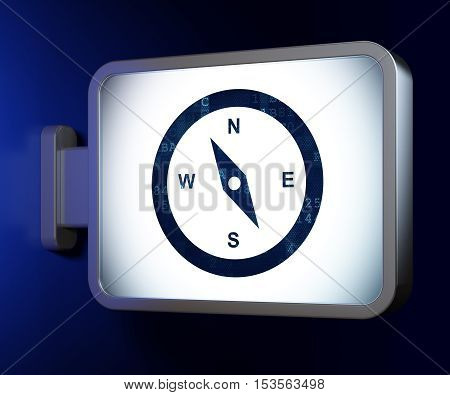 Travel concept: Compass on advertising billboard background, 3D rendering