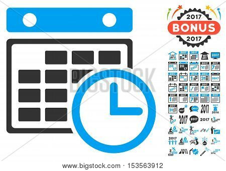 Timetable icon with bonus 2017 new year pictograph collection. Vector illustration style is flat iconic symbols, modern colors.