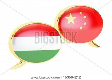 Speech bubbles Chinese-Hungarian conversation concept. 3D rendering