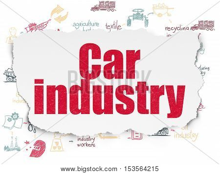 Manufacuring concept: Painted red text Car Industry on Torn Paper background with Scheme Of Hand Drawn Industry Icons