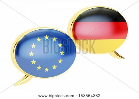 Speech bubbles EU-Germany conversation concept. 3D rendering isolated on white background