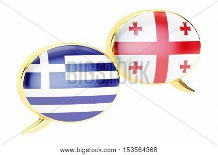 Speech bubbles Georgian-Greek translation concept. 3D rendering