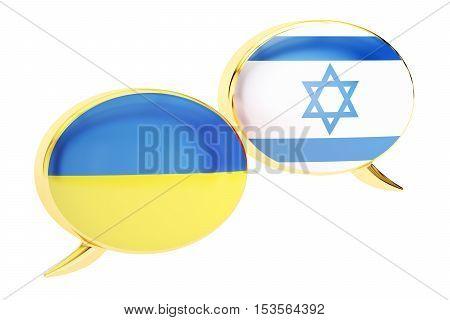 Speech bubbles Ukrainian-Israeli translation concept. 3D rendering