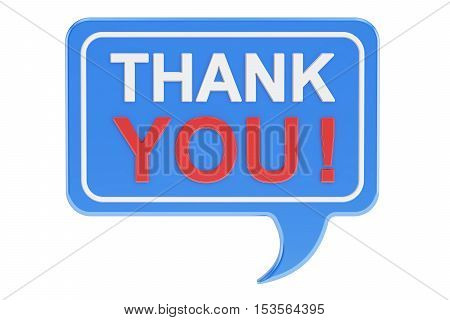Thank you speech bubble 3D rendering isolated on white background