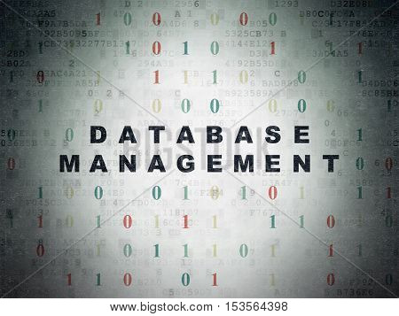 Database concept: Painted black text Database Management on Digital Data Paper background with Binary Code