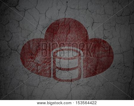 Database concept: Red Database With Cloud on grunge textured concrete wall background