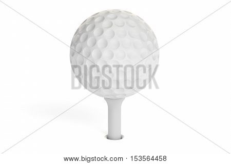 White golf ball on a tee 3D rendering isolated on white background