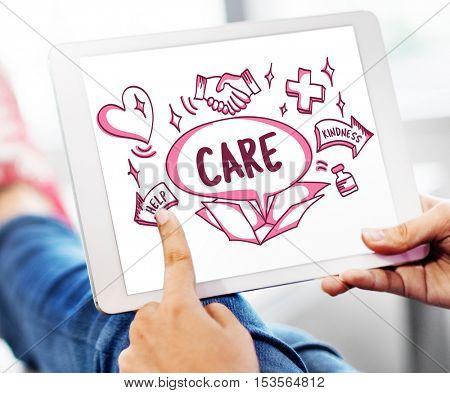 Care Medicine Help Kindness Icons Concept
