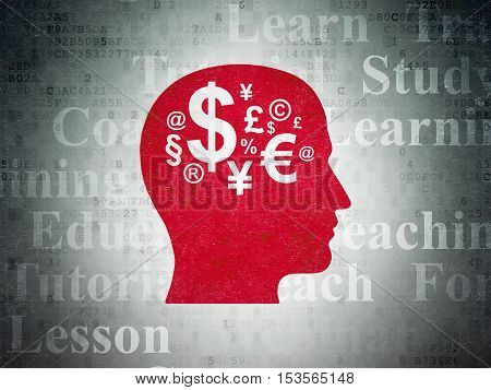Education concept: Painted red Head With Finance Symbol icon on Digital Data Paper background with  Tag Cloud