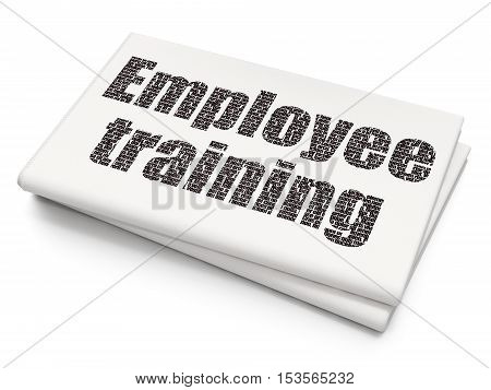 Studying concept: Pixelated black text Employee Training on Blank Newspaper background, 3D rendering