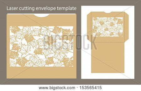 Vector envelope template for laser cutting or plotter cutting. Cut Autumn maple leaves
