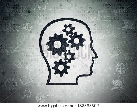 Learning concept: Painted black Head With Gears icon on Digital Data Paper background with Scheme Of Hand Drawn Education Icons