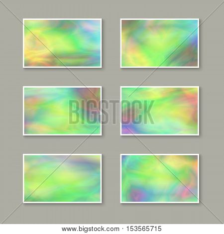 Set of Colorful Pavonine Business Cards. Templates for Gift Cards / Invitations / Postcards with Realistic Holographic Effect. Abstract Universal Design Elements. Unique Iridescent Blanks. Kit of Stickers.