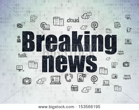 News concept: Painted black text Breaking News on Digital Data Paper background with  Hand Drawn News Icons