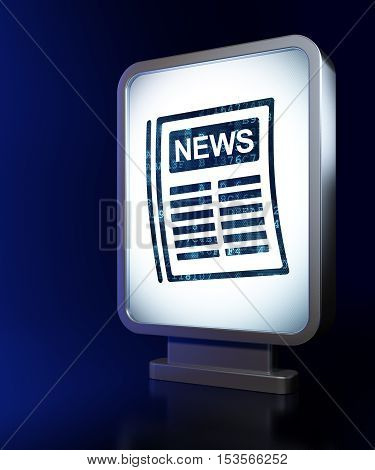 News concept: Newspaper on advertising billboard background, 3D rendering