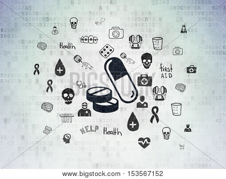 Healthcare concept: Painted black Pills icon on Digital Data Paper background with  Hand Drawn Medicine Icons