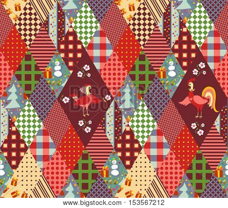 Seamless patchwork pattern for Christmas and chinese year of the Rooster. Quilting of rhombus different patches. Vector illustration.