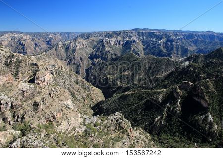 Mountainous landscapes of Copper Canyons, panoramic view, Chihuahua, Mexico