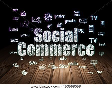 Advertising concept: Glowing text Social Commerce,  Hand Drawn Marketing Icons in grunge dark room with Wooden Floor, black background
