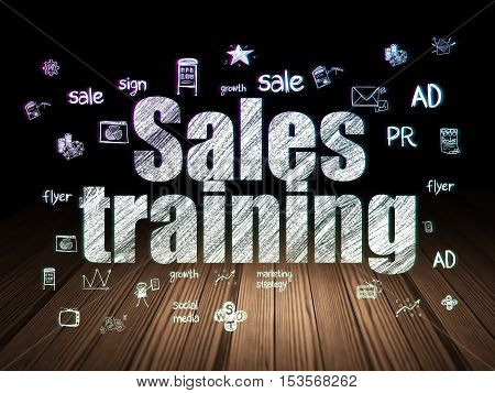 Advertising concept: Glowing text Sales Training,  Hand Drawn Marketing Icons in grunge dark room with Wooden Floor, black background