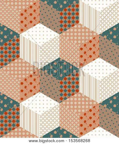Seamless patchwork pattern from colorful cubes. Vector illustration of quilt.