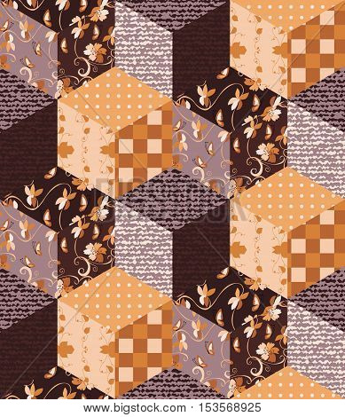 Patchwork in brown tones with floral geometric and jeans patches. Seamless pattern from cubes. Vector illustration of quilt.