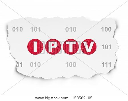 Web design concept: Painted red text IPTV on Torn Paper background with  Binary Code