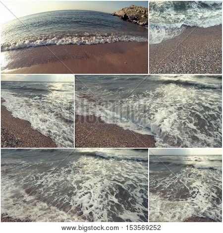 Collage of sea water and wild coast images, set for tourism and recreation illustration. Toned color.