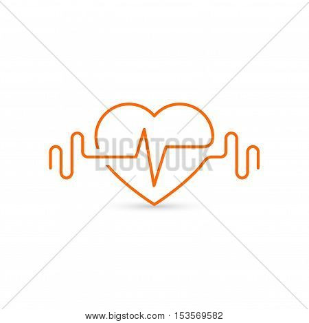 Vector heart outline, dumbbells and a cardiogram. Icon symbolizing health and sport