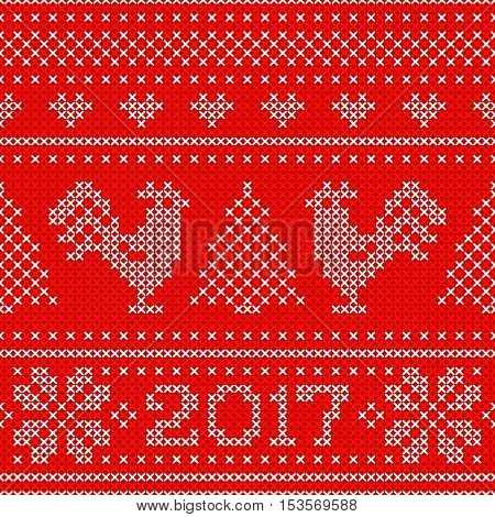 Red Holiday seamless pattern with cross stitch embroidered roosters and text 2017. Christmas scheme design. Cocks - symbol of New Year 2017, xmas tree, heart and snowflake.