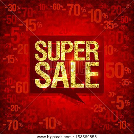 Chic golden super sale poster design, bright red fashion backdrop with discounts, red speech bubble, rasterized version