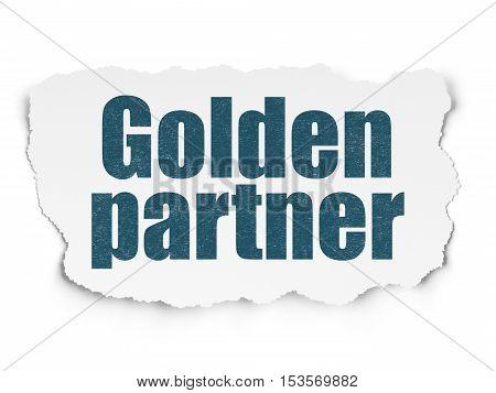 Business concept: Painted blue text Golden Partner on Torn Paper background with Scheme Of Hand Drawn Business Icons
