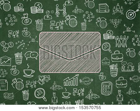 Business concept: Chalk Pink Email icon on School board background with  Hand Drawn Business Icons, School Board