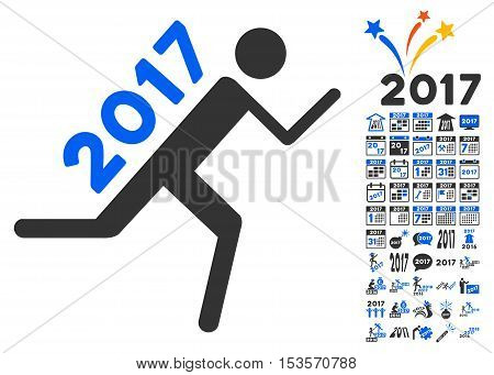 2017 Courier pictograph with bonus 2017 new year pictures. Vector illustration style is flat iconic symbols, modern colors.