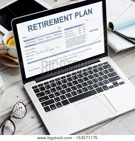 Retirement Plan Form Insurance Financial Concept