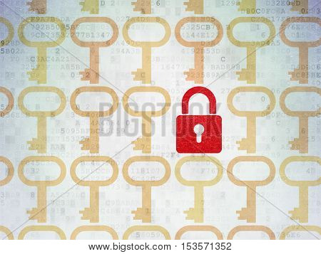 Safety concept: rows of Painted yellow key icons around red closed padlock icon on Digital Data Paper background