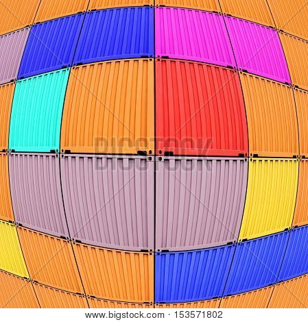background of multi-colored freight shipping containers at the docks