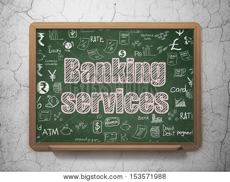 Money concept: Chalk Pink text Banking Services on School board background with  Hand Drawn Finance Icons, 3D Rendering