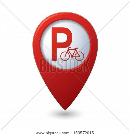 Parking for bicycle icon on map pointer, vector illustration