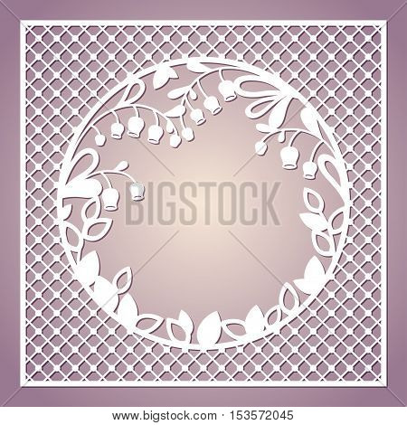 Openwork square card with lilies of the valley. Laser cutting template for greeting cards envelopes invitations interior decorative elements.