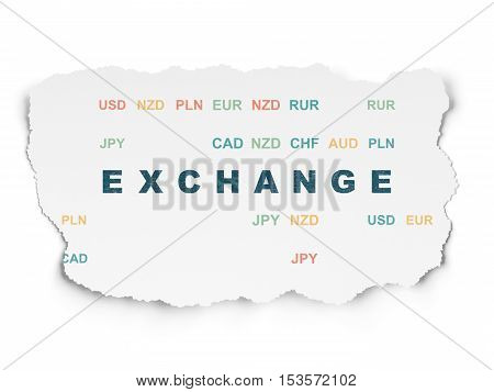 Money concept: Painted blue text Exchange on Torn Paper background with  Currency