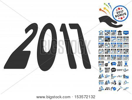 2017 Perspective pictograph with bonus 2017 new year graphic icons. Vector illustration style is flat iconic symbols, modern colors.