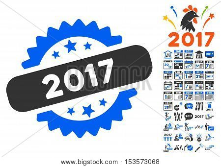 2017 Year Stamp icon with bonus 2017 new year pictograms. Vector illustration style is flat iconic symbols, modern colors.