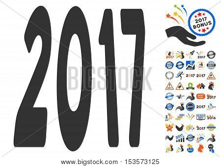2017 Year pictograph with bonus 2017 new year pictures. Vector illustration style is flat iconic symbols, modern colors.