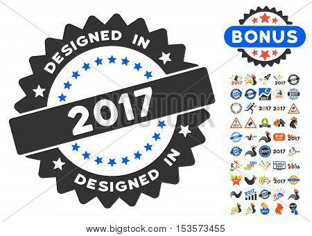 Designed in 2017 Round Seal icon with bonus 2017 new year design elements. Vector illustration style is flat iconic symbols, modern colors.